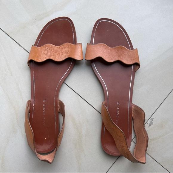 Zara Brown Leather Sandals Size 38